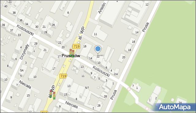 Pruszków, Kościuszki Tadeusza, gen., 12, mapa Pruszków