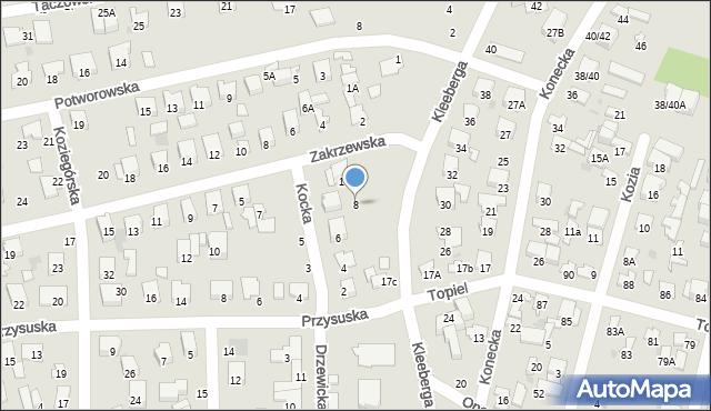 Radom, Kocka, 8, mapa Radomia