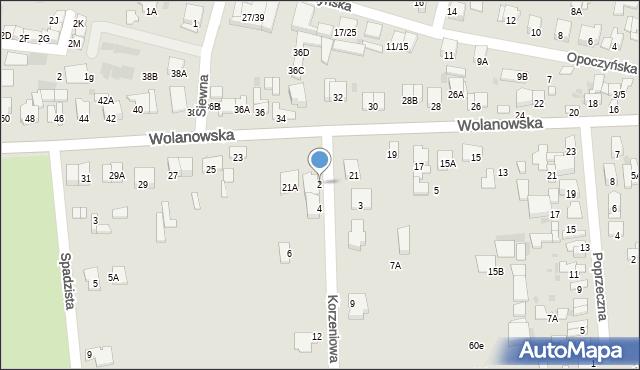 Radom, Korzeniowa, 2, mapa Radomia