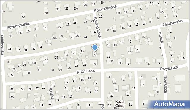 Radom, Koziegórska, 23, mapa Radomia