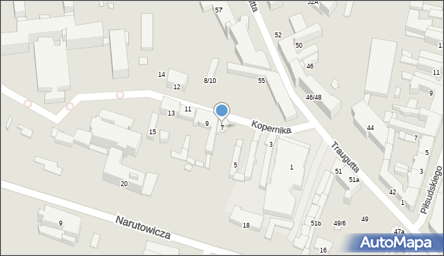 Radom, Kopernika Mikołaja, 7, mapa Radomia