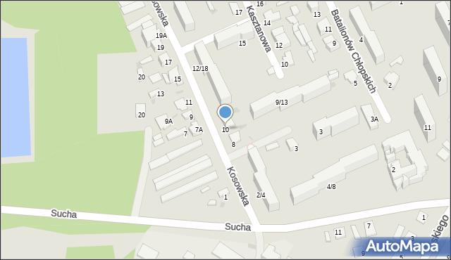 Radom, Kosowska, 10, mapa Radomia