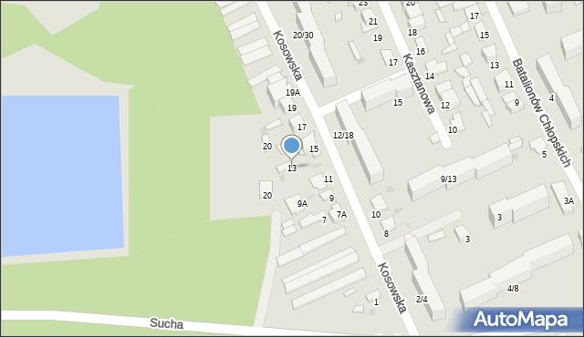 Radom, Kosowska, 13, mapa Radomia