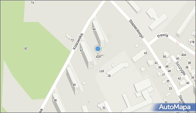 Radom, Kosowska, 42A, mapa Radomia