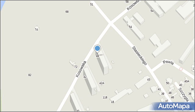 Radom, Kosowska, 44, mapa Radomia