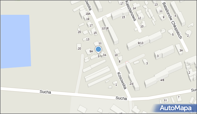 Radom, Kosowska, 7, mapa Radomia
