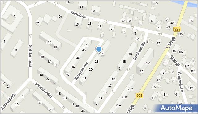 Ruda Śląska, Kosynierów, 2A, mapa Rudy Śląskiej