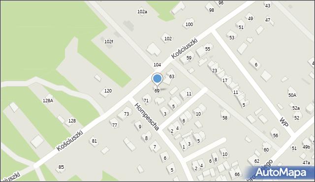 Rudnik nad Sanem, Kościuszki Tadeusza, gen., 69, mapa Rudnik nad Sanem