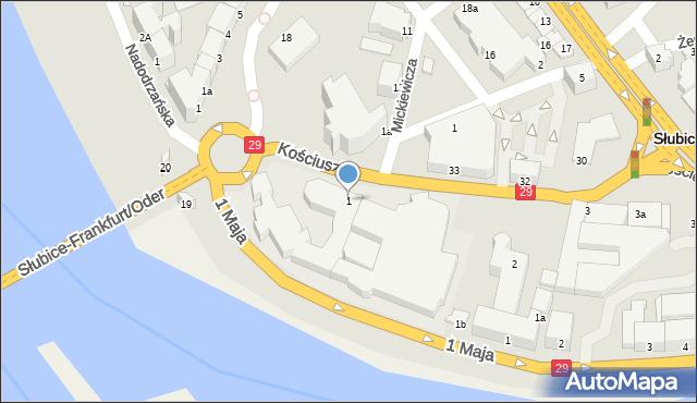 Słubice, Kościuszki Tadeusza, gen., 1, mapa Słubice