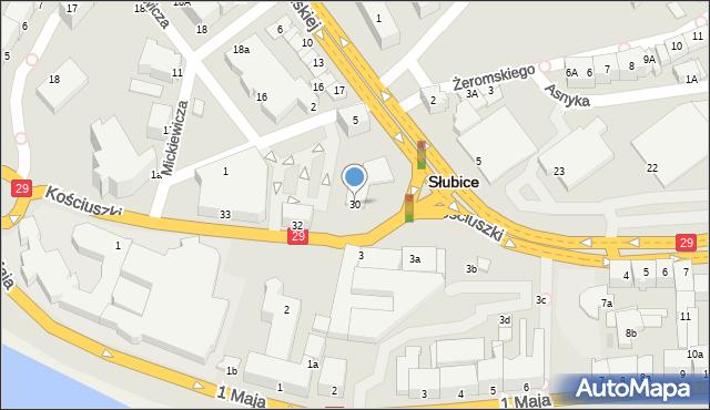 Słubice, Kościuszki Tadeusza, gen., 30, mapa Słubice