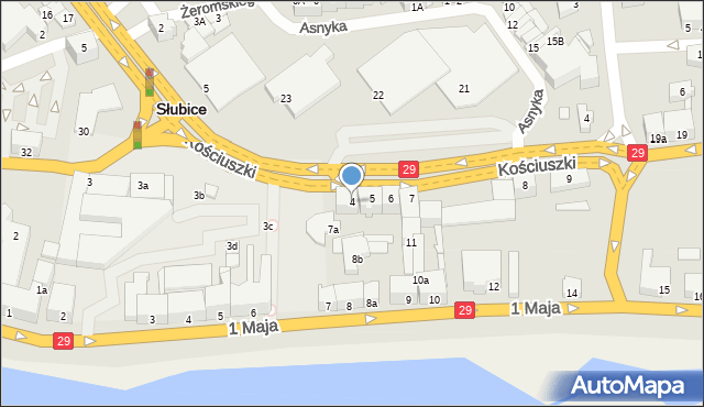 Słubice, Kościuszki Tadeusza, gen., 4, mapa Słubice