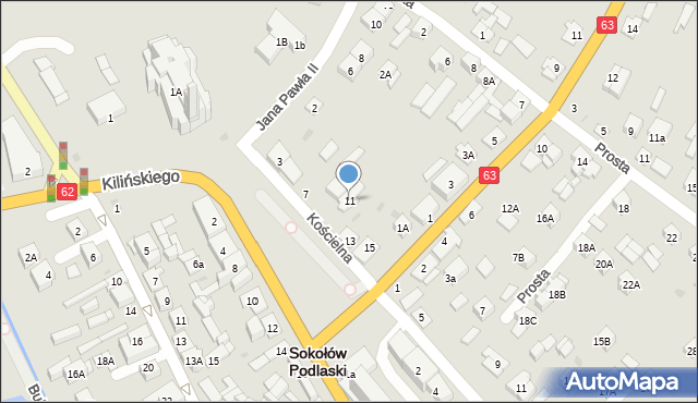 Sokołów Podlaski, Kościelna, 11, mapa Sokołów Podlaski