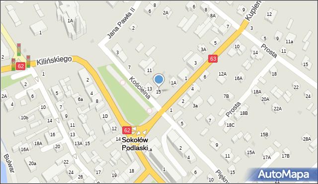 Sokołów Podlaski, Kościelna, 15, mapa Sokołów Podlaski