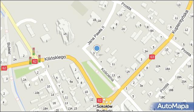 Sokołów Podlaski, Kościelna, 5, mapa Sokołów Podlaski