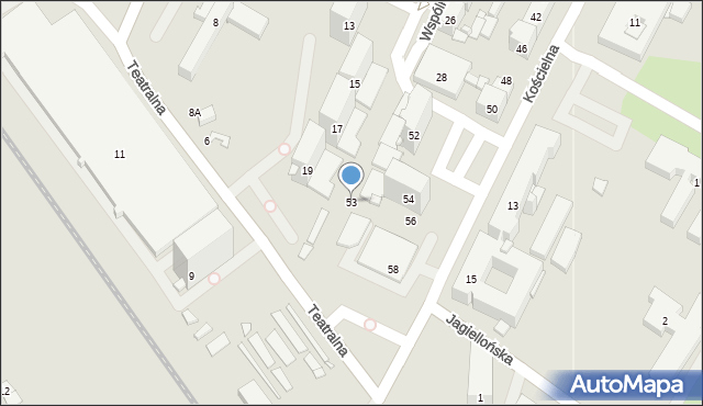 Sosnowiec, Kościelna, 53, mapa Sosnowca