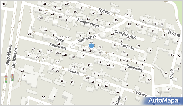 Sosnowiec, Kopernika Mikołaja, 11A, mapa Sosnowca