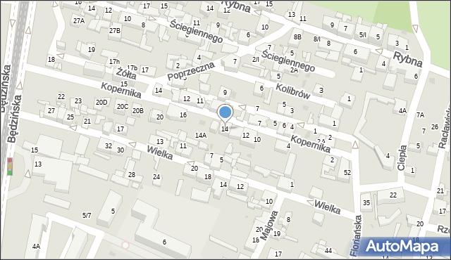 Sosnowiec, Kopernika Mikołaja, 14, mapa Sosnowca