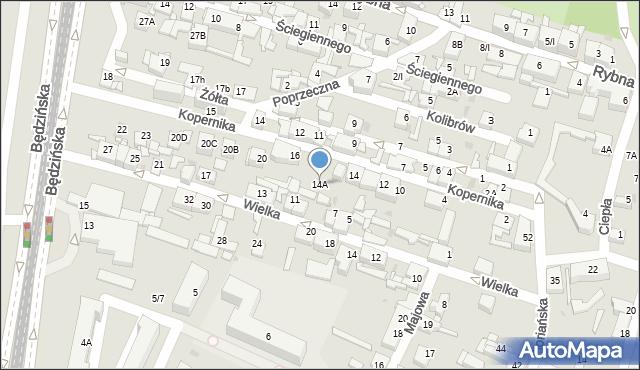 Sosnowiec, Kopernika Mikołaja, 14A, mapa Sosnowca