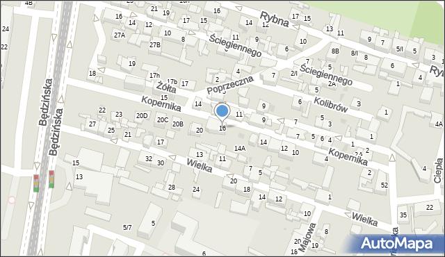Sosnowiec, Kopernika Mikołaja, 16, mapa Sosnowca