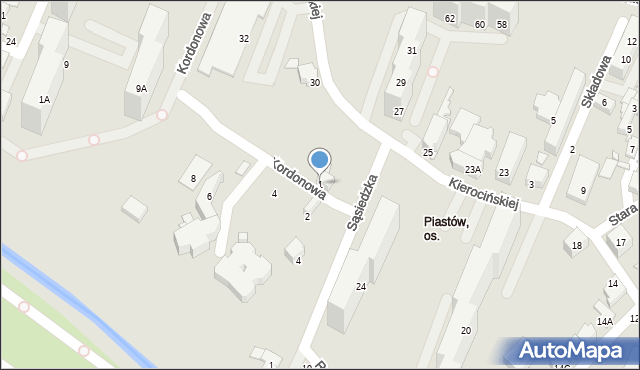 Sosnowiec, Kordonowa, 1, mapa Sosnowca
