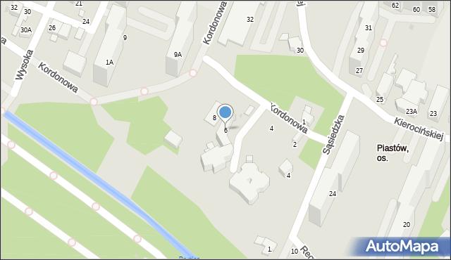 Sosnowiec, Kordonowa, 6, mapa Sosnowca