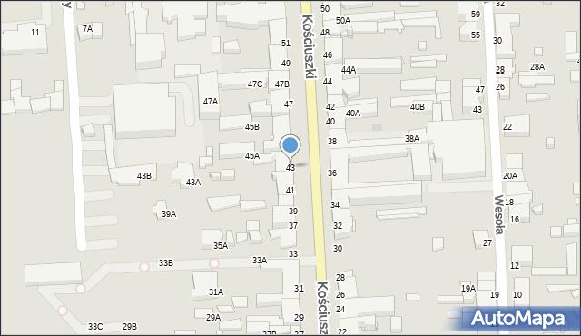 Suwałki, Kościuszki Tadeusza, gen., 43, mapa Suwałk