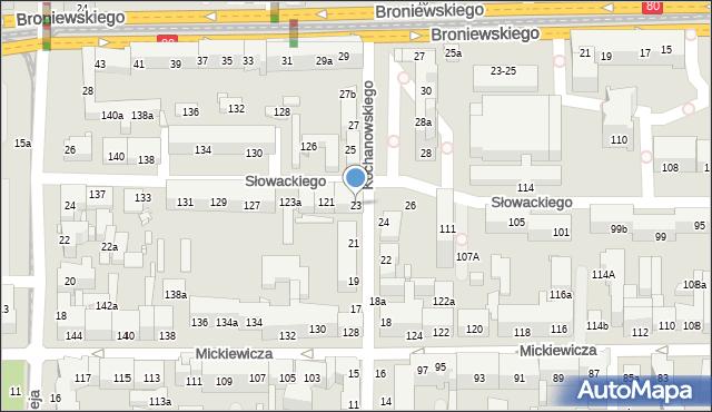 Toruń, Kochanowskiego Jana, 23, mapa Torunia