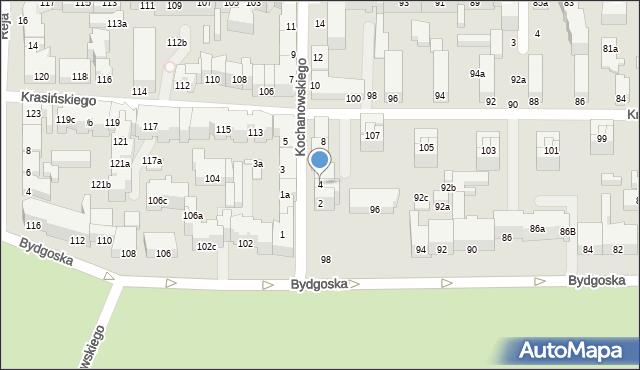 Toruń, Kochanowskiego Jana, 4, mapa Torunia