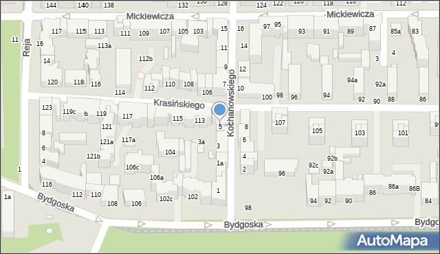 Toruń, Kochanowskiego Jana, 5, mapa Torunia