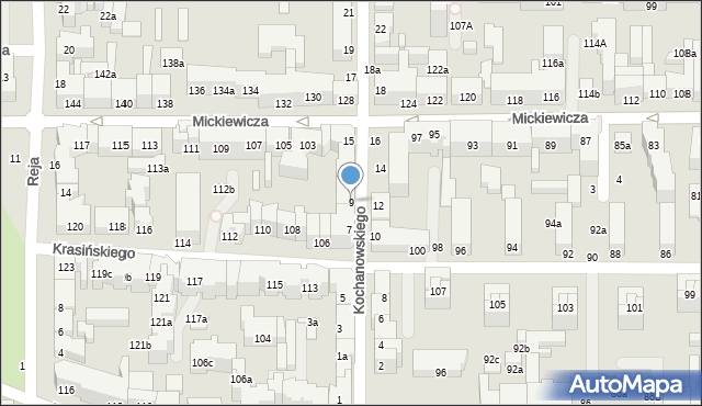 Toruń, Kochanowskiego Jana, 9, mapa Torunia