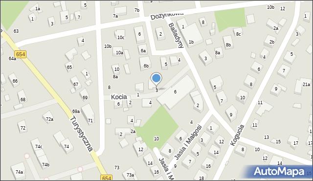 Toruń, Kocia, 3, mapa Torunia