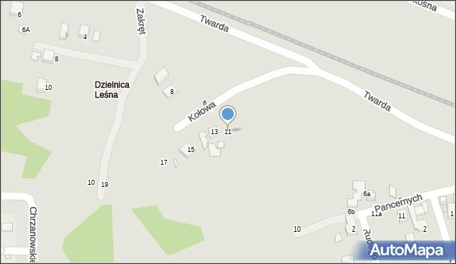 Toruń, Kołowa, 11, mapa Torunia
