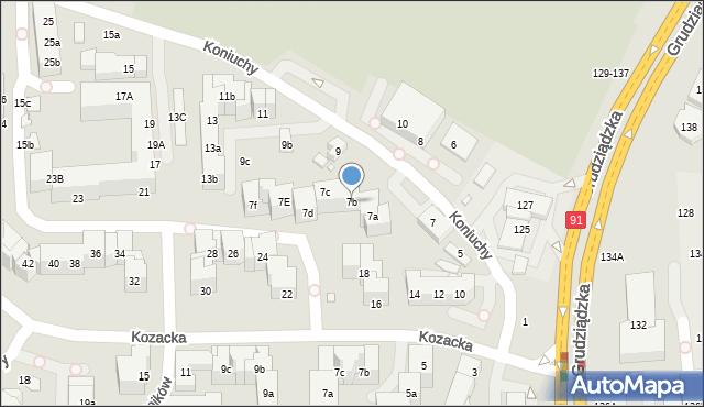 Toruń, Koniuchy, 7b, mapa Torunia