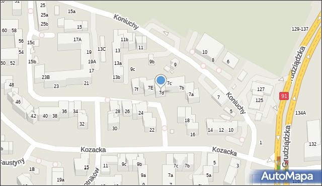 Toruń, Koniuchy, 7d, mapa Torunia
