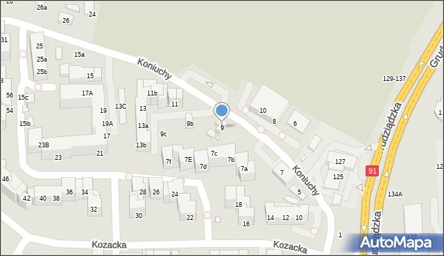 Toruń, Koniuchy, 9, mapa Torunia