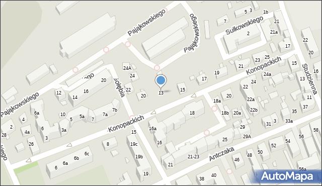 Toruń, Konopackich, 13, mapa Torunia