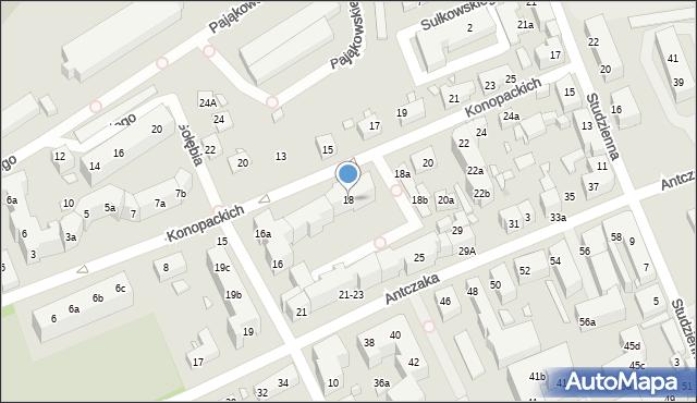 Toruń, Konopackich, 18, mapa Torunia
