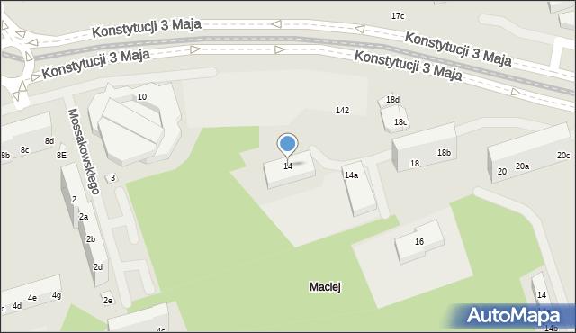 Toruń, Konstytucji 3 Maja, 14, mapa Torunia
