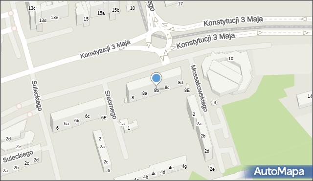 Toruń, Konstytucji 3 Maja, 8b, mapa Torunia