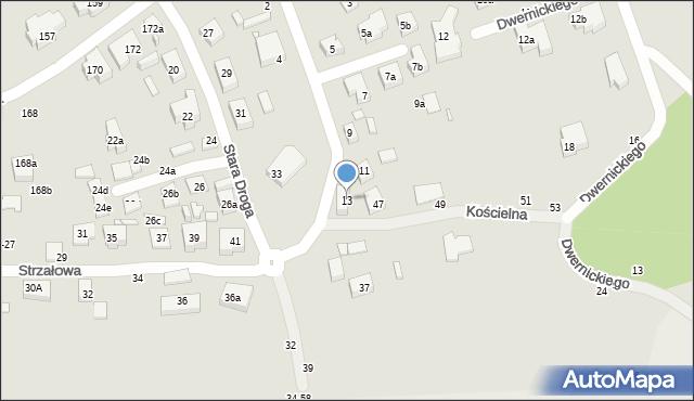 Toruń, Kościelna, 13, mapa Torunia