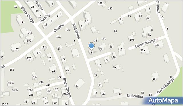 Toruń, Kościelna, 5, mapa Torunia
