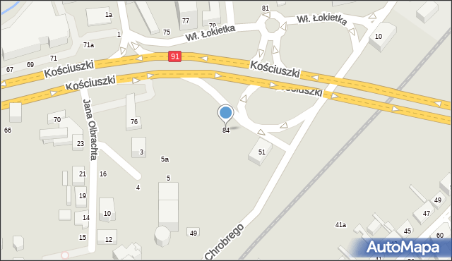 Toruń, Kościuszki Tadeusza, gen., 84, mapa Torunia