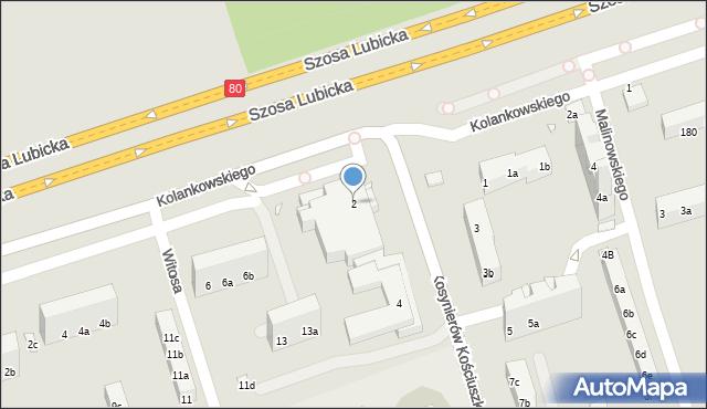 Toruń, Kosynierów Kościuszkowskich, 2, mapa Torunia