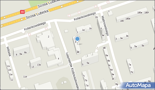 Toruń, Kosynierów Kościuszkowskich, 3a, mapa Torunia