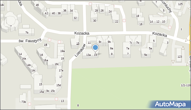 Toruń, Kozacka, 13, mapa Torunia