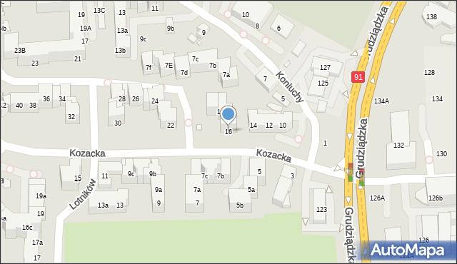 Toruń, Kozacka, 16, mapa Torunia