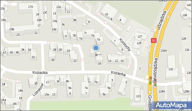 Toruń, Kozacka, 18, mapa Torunia