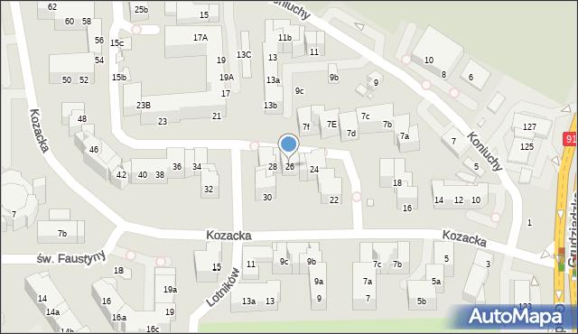 Toruń, Kozacka, 26, mapa Torunia