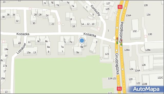 Toruń, Kozacka, 5a, mapa Torunia