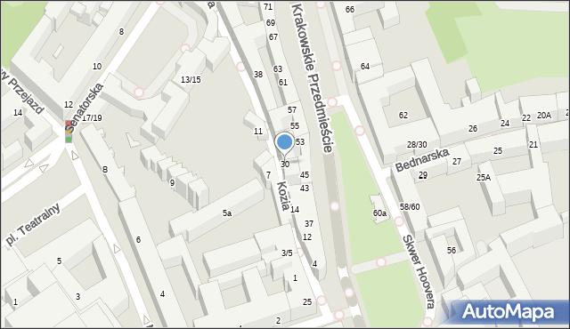 Warszawa, Kozia, 30, mapa Warszawy